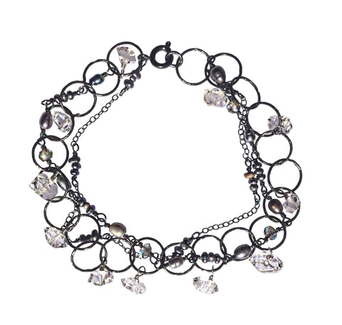 Oxidized sterling silver bracelet with Herkimer diamonds, labradorite gemstones and black pearls
