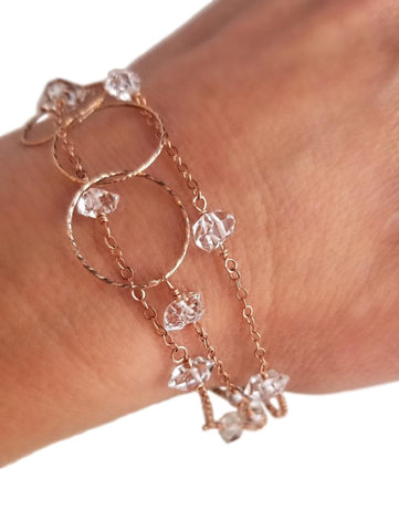 Rose Gold & Herkimer Diamond Multi-strand Bracelet