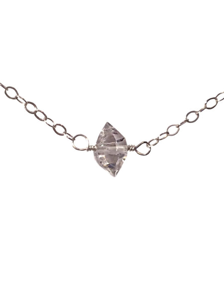 Herkimer Diamond Choker Necklace on Sterling Silver Chain