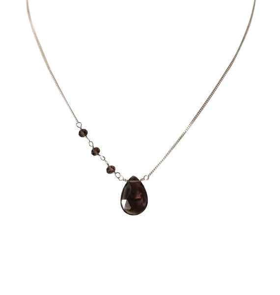 Sterling Silver Gemini Necklace with Smokey Quartz