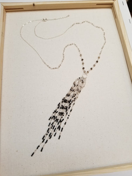 Ombre Tassel Necklace with Black Spinel, White Topaz & Smokey Quartz