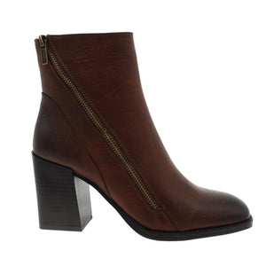 Perfect Transition Vegan Leather Chunk Heel Short Boot in Brown
