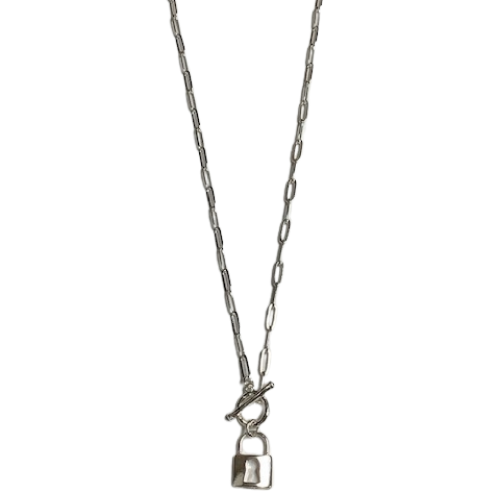 Pad Lock Toggle Necklace With Paper Link Chain