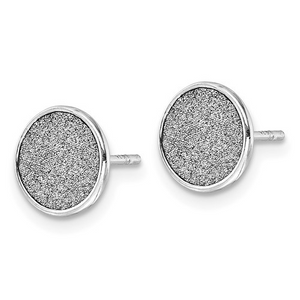 Shimmer Button Sterling Silver Earrings