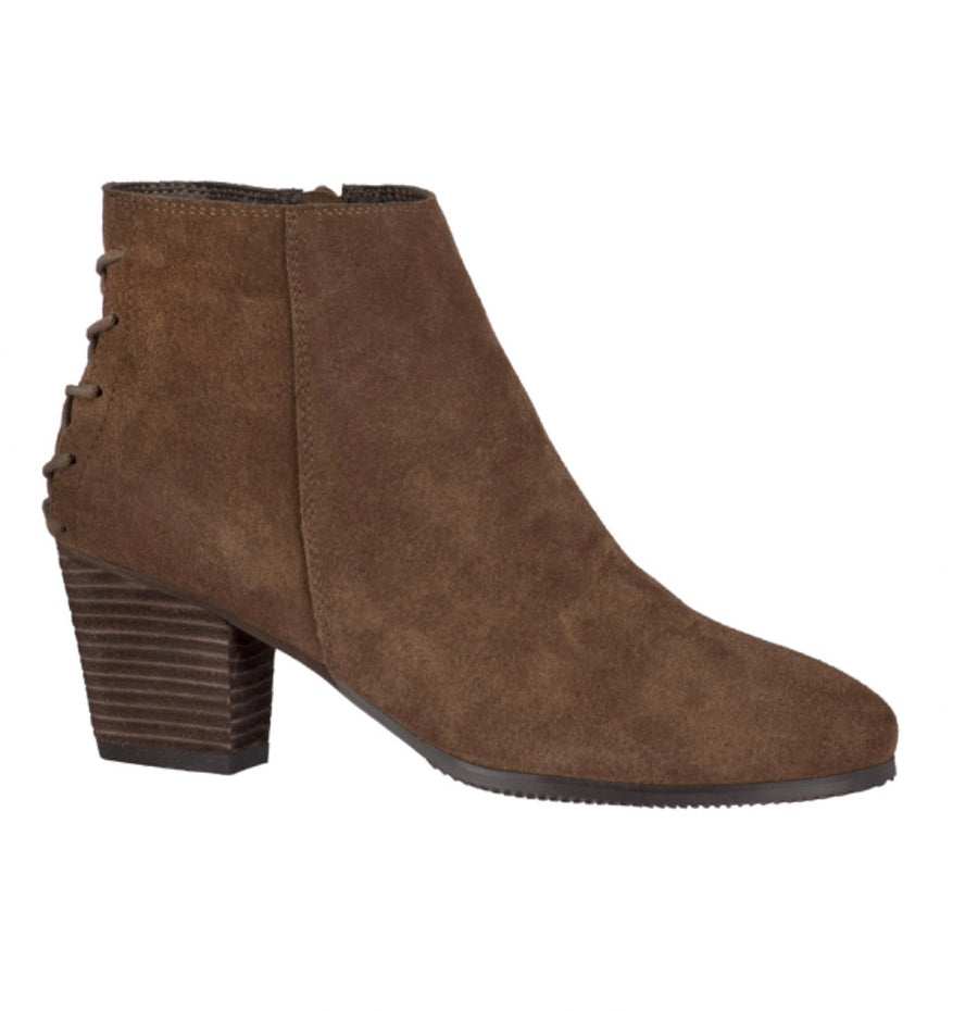 Sasha Suede Leather Short Tan Boot by Taxi