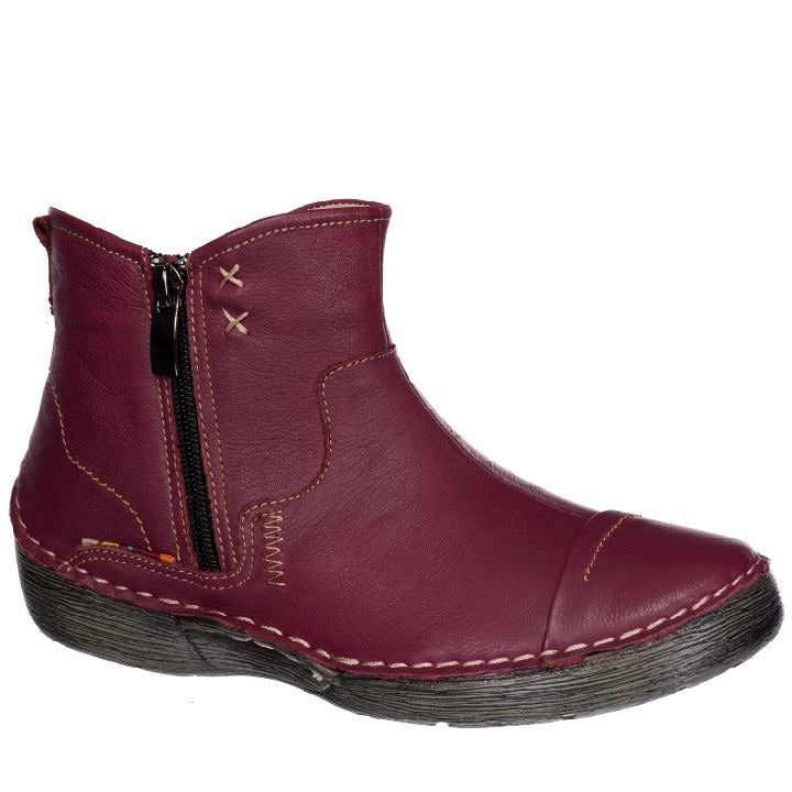 Tessa Leather Short Wine Boots by Taxi