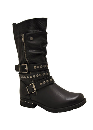 Rock It Midcalf Vegan Leather in Black