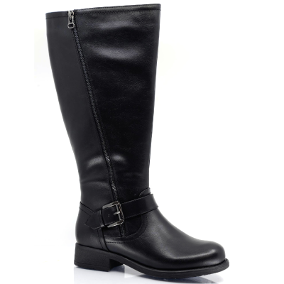 Adele Vegan Leather Athletic Calf (Wide Calf) Waterproof Tall Boot by Taxi in Black  (Adele-03WP)