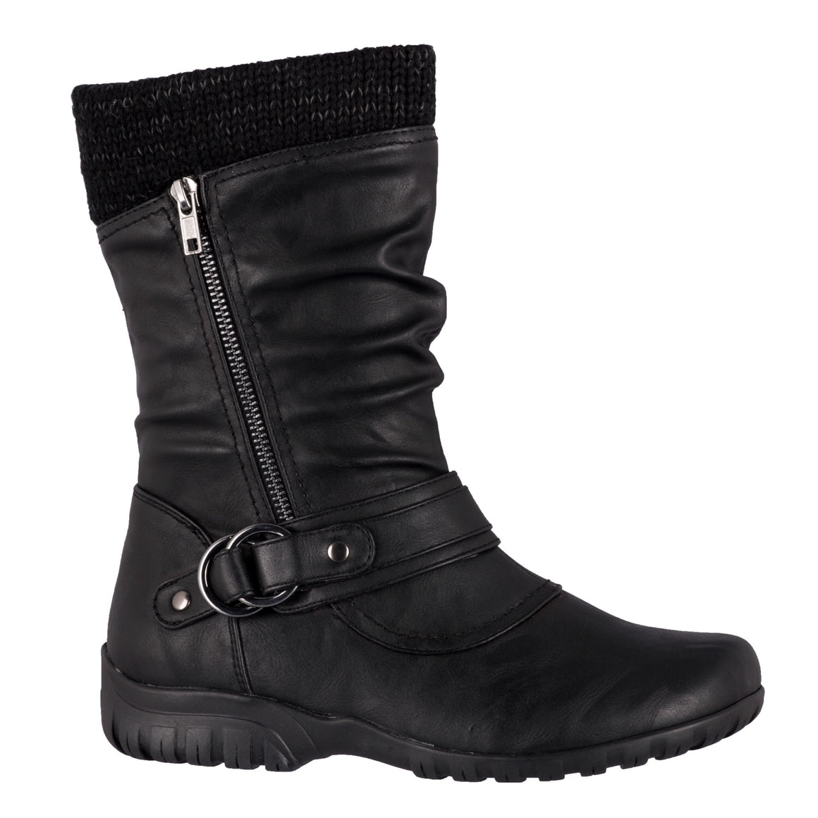 Reese Mid Calf Black Boot by Taxi