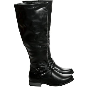 Merle Vegan Leather Tall Boot in Black
