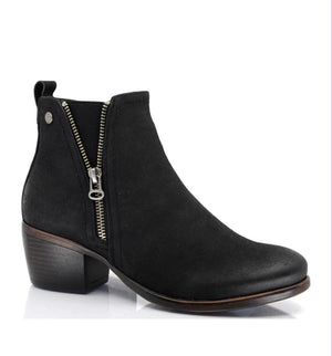 Hailey Vegan Suede Short Black Boot by Taxi