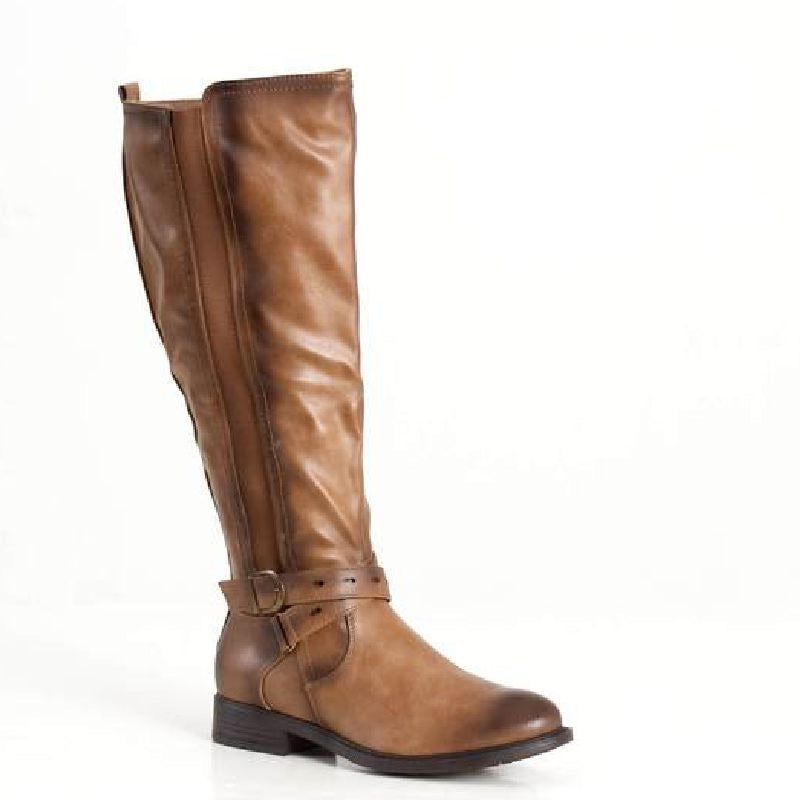 Bandeau Wide Calf Boot in Nude