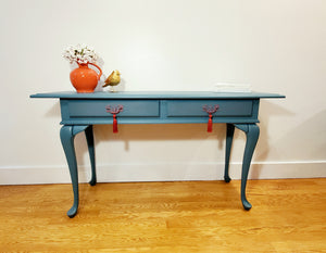 Distressed Blue-Green Console Table / Desk / Sofa Table