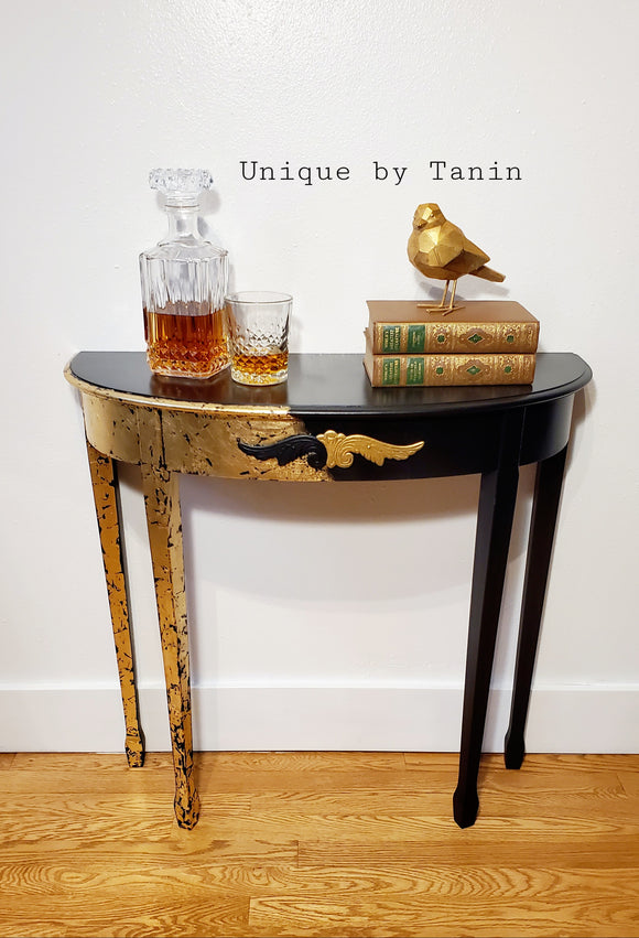 Black Gothic Gilded Console Table