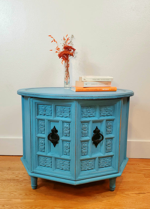 Charming Blue Accent / End / Coffee Table/ Storage