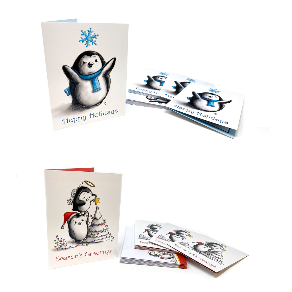 Two card versions. One with penguin with snowflake above his head and Happy Holidays below his feet. The Season's Greetings card has a penguin standing on the shoulder of another placing a star on the tree.