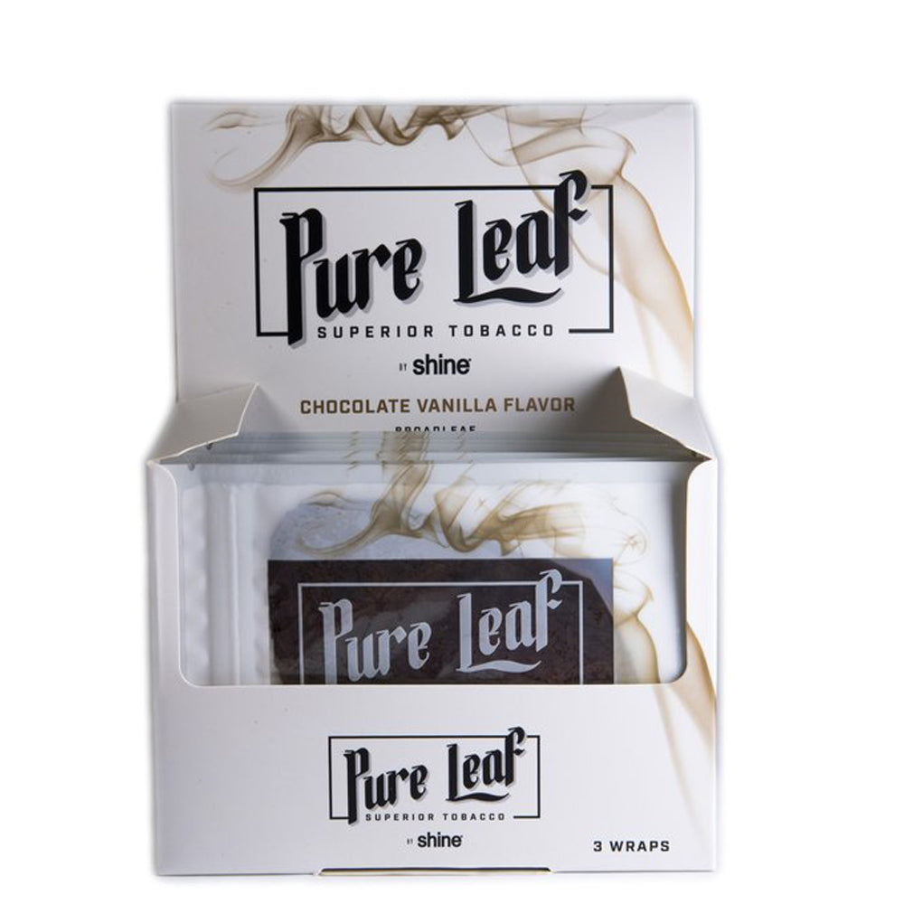 Pure Leaf Blunt Wraps by Shine - Chocolate Vanilla 3 Pack (Box 16)