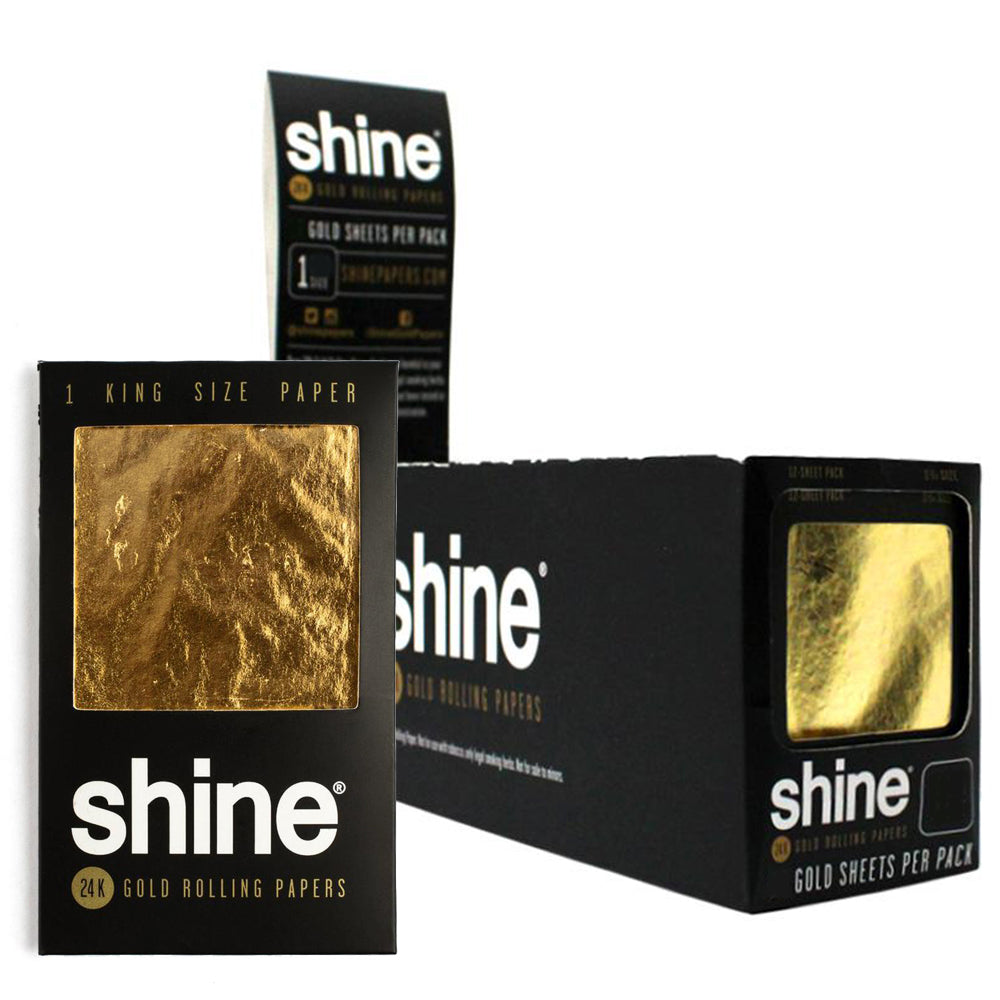 Shine Gold 1-Sheet Pack King Size Rolling Papers (Box 24)