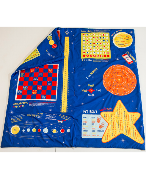 "Playtime Reversible All in One Slumber Bag, Play Mat and Bed Cover. Over 25 Fun Games & Puzzles. Ultra-Soft Microfiber. Girls up to 5'10"" - Playtime Bed Sheets and Slumber Bags"