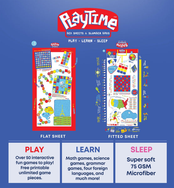 Playtime Bed Sheets Twin Set! Over 50 Fun Interactive Games & Puzzles. Ultra Soft Microfiber 3-Piece Set (Blue). - Playtime Bed Sheets and Slumber Bags