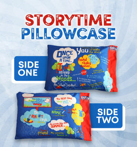 Playtime Story-Time Pillowcase with Over 20 Starter Sentences and Images. Ultra Soft 75 GSM Microfiber. (Pink) (Blue) (Gender-Neutral) - Playtime Bed Sheets and Slumber Bags