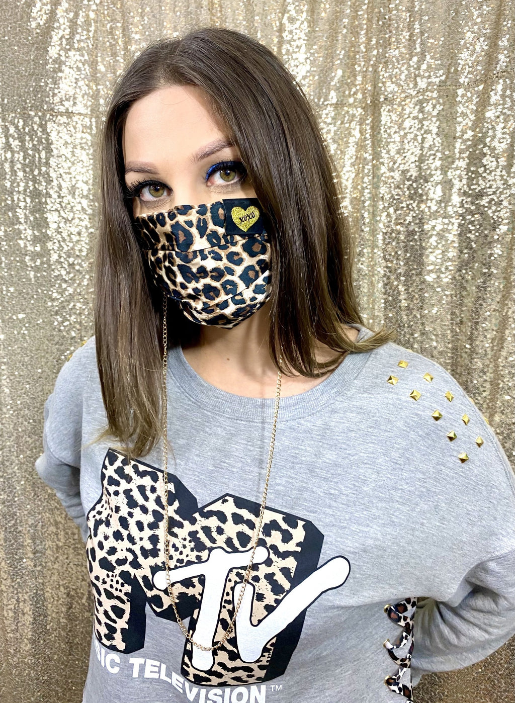 Leopard Print Satin Face Mask With Gold Chain