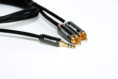Extreme Audio Premium Quality Gold Plated 3.5mm Stereo to RCA Audio Connection Cable for High Resolution Audio Players, Headphone Amps, Smartphones, Wireless Headphones, and TV