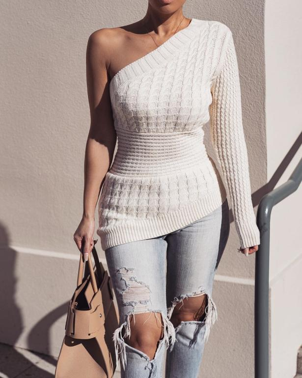 This vega one shoulder white knitted sweater will become an essential part of your mid-season wardrobe , Vega brand.