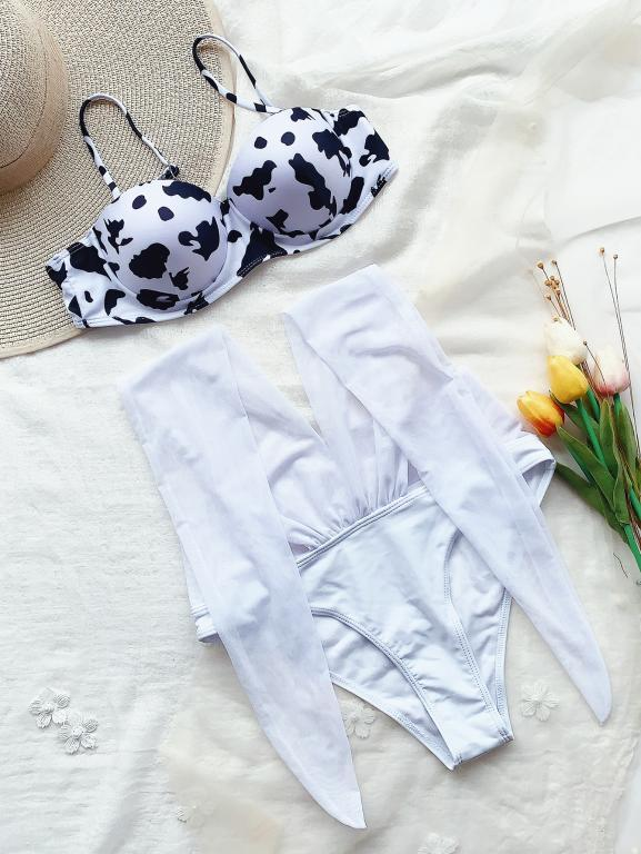 Vega two pieces suit, cow print swimsuit , Vega brand.