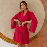 Red belt short blazer dress , Vega brand.