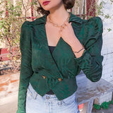 Vega trendy puff sleeve blouse , army green color, Vega brand.