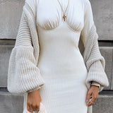 White knitted o neck long sleeve dress , Vega brand.