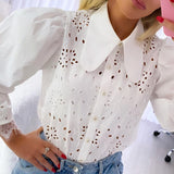 Trendy turndown collar women blouse shirt with puff sleeve, Floral pattern, Vega brand.