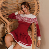 Red knitted Christmas pleated short dress , Vega brand.