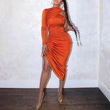 Women orange long sleeve party night club dress , Vega brand.