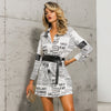 Vega stylish newspaper print blouse with long sleeve , Vega brand.