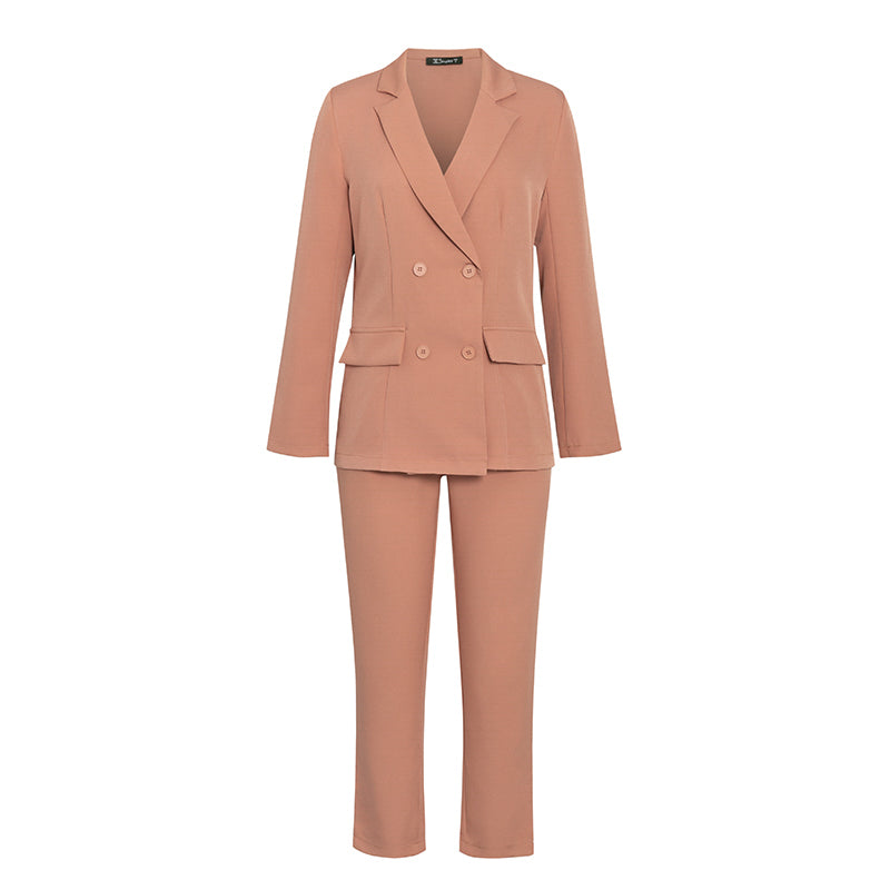 Two-piece blazer women suits Long sleeve double breasted casual blazer pants set , Vega brand.