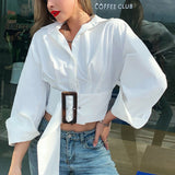 Vega white crop top with long lantern sleeve and  belt , Vega brand.