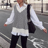 Vega knitted V neck sleeveless oversized vest , autumn winter, Vega brand.
