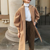 Vega Fashionable long coat with lantern sleeve, Khaki color , Vega brand,