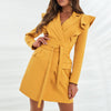 Yellow elegant dress with ruffles , Vega brand.