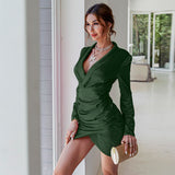 Satin elegant long sleeve slim mini dress , Vega brand.
