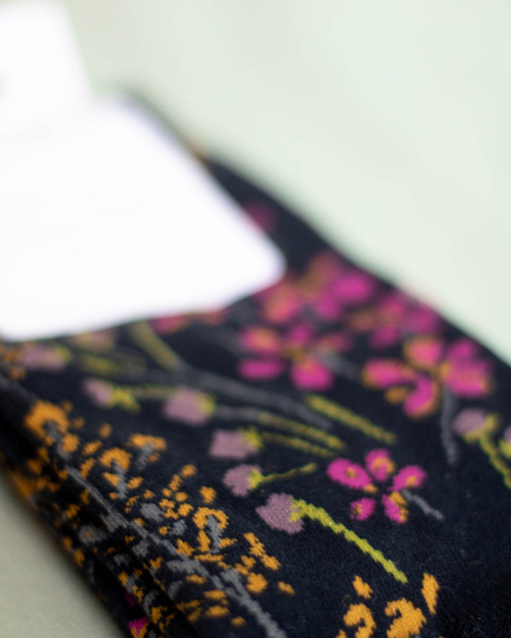 Navy Organic Cotton Floral Socks