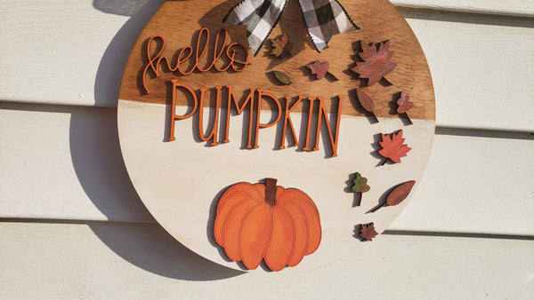 Hello Pumpkin Door Hanger Sign