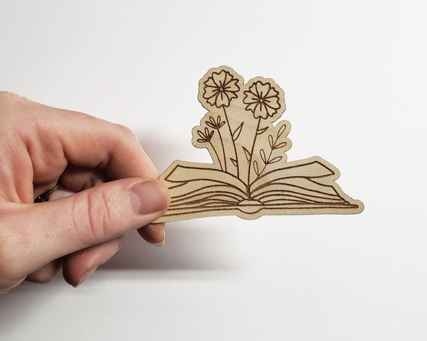 Flowers in Book Flexible Wooden Engraved Sticker