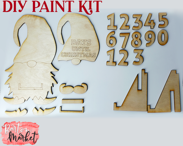 DIY Paint Kit Christmas Gnome Countdown Laser Cut Wood