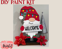 (Set of 2) DIY Paint Kit Christmas Gnome Laser Cut Wood