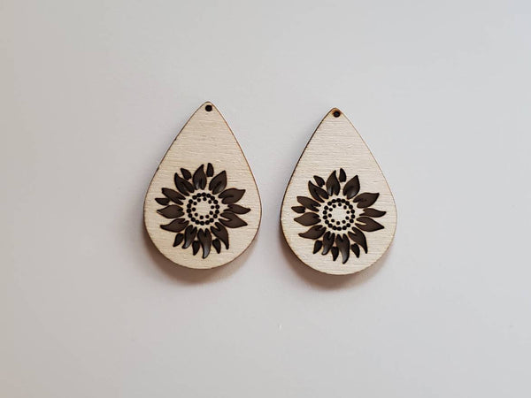 Wood Sunflower Drop Earring Blanks