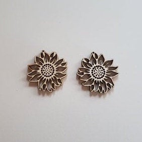 Wood Sunflower Earring Blanks