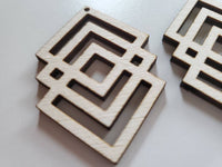 Wood Three Diamond Earring Blanks